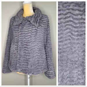 Patagonia Gray Fuzzy Zip Up Jacket Large